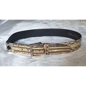 XL Genuine Python Skin Oscar de la Renta Belt